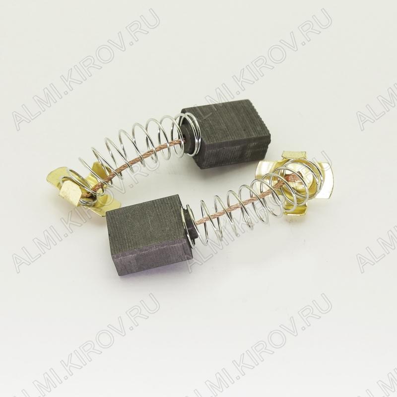 Щетки графитовые 8х14.5х17 (563) пружина, пятак, уши, (2 шт) для Интерскол УШМ-2300Wt