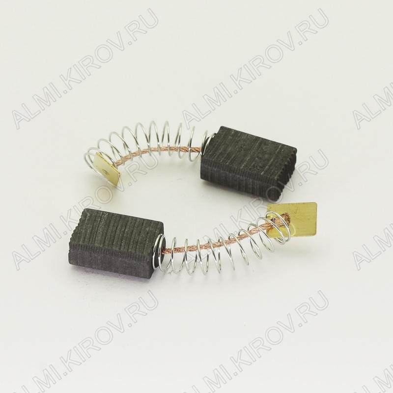 Щетки графитовые 6х11х16 (569) пружина, прямоугольный пятак, (2 шт) для Интерскол ДП-1200Wt