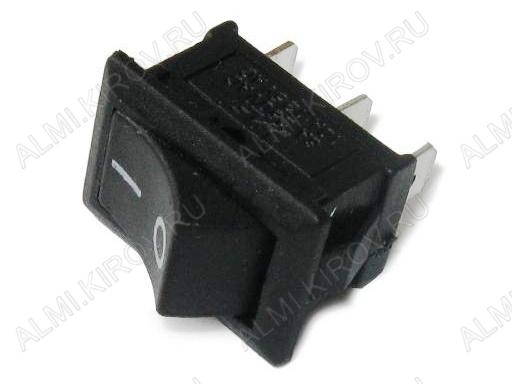 Сетевой выключатель RWB-202 ON-ON черный с фиксацией 19,2*13,0mm; 6A/250V; 3 pin
