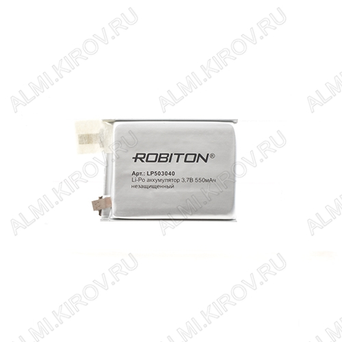 Аккумулятор LP503040UN (3.7V; 550mAh) без зашиты Li-Pol; 5,0*30*40мм                                                                                                               (цена за 1 аккумулят