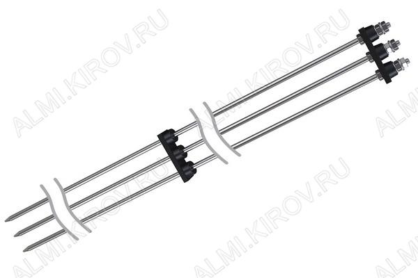 Датчик уровня многоэлектродный кондуктометрический ДС.П.3 Для контроля двух (или трех, если емкость имеет токопроводящие стенки) уровней жидкости в резервуарах открытого и закрытого типа.