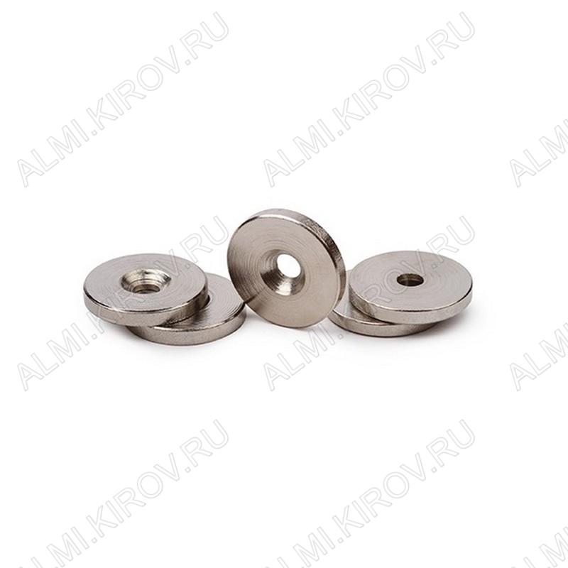 Неодимовый магнит кольцо 20х3 с зенковкой 4.5/7.5 Сила сцепления 3.8кг; вес 6.5гр;
