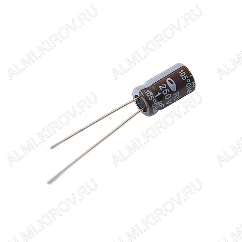 Конденсатор электролитический   1мкФ 250В 0611 +105°C