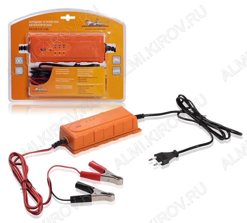 Зарядное устройство (ACH-5A-10) автоматическое Для автомобильного аккумулятора (max=5A) 6/12V. Максимальная емкость АКБ для зарядки 120Ач.