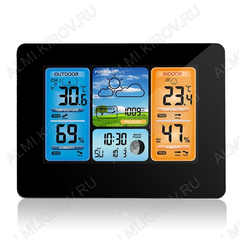 Метеостанция OT-HOM01 с радиодатчиком (цвет черный) Измерение наружной и внутренней температуры, внутренней влажности, календарь, часы; питание шнур USB или 2хR6 радиодатчика 2хR6(нет в комплекте)
