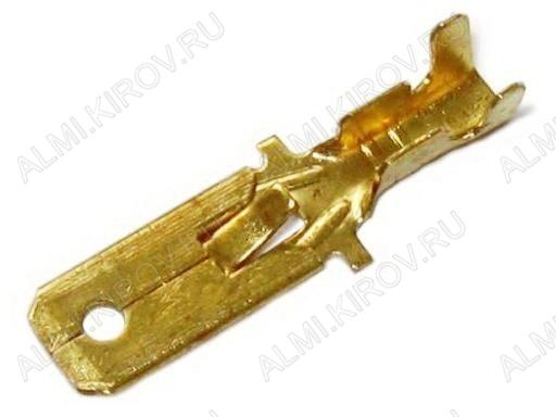 Клемма ножевая (№82) 6.4x0.8 штекер DJ611-6.3A неизолированная сечение 0.5-0.8 мм2