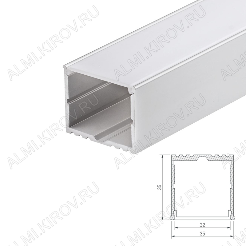 Профиль накладной ARH-POWER-W35-2000 ANOD (016138)  для LED-ленты шириной до 32мм размеры: 2000*35*35мм
