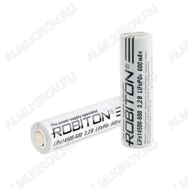 Аккумулятор 14500 (3.2V, 600mAh) LiFe LiFePO4; 14.1*48.5мм, без защиты                                                                                                               (цена з