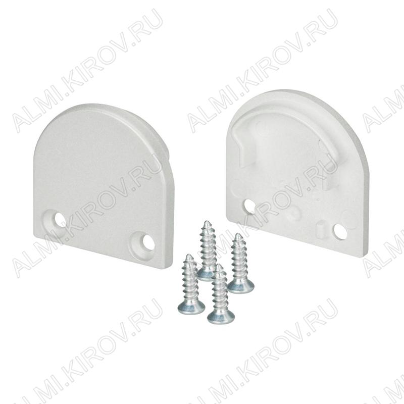 Заглушка SL-LINE-2011M ROUND (024319)  для профиля SL-LINE-2011M-2000 ANOD комплект: 2 заглушки, 4 шурупа; глухая; пластик