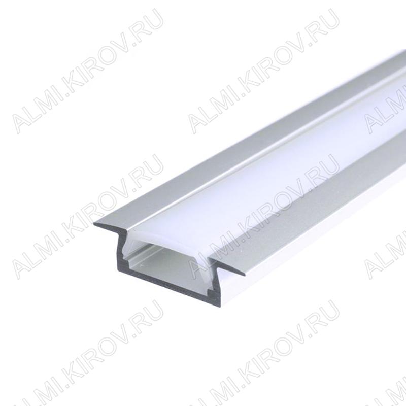 Профиль врезной GAL-GLS-2000-7-22 (523110)  для LED-ленты шириной до 10 мм размеры: 2000*22*7мм; комплект: профиль, экран, 2 заглушки, 4 скобы, крепеж