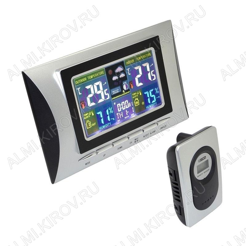 Метеостанция OT-HOM02 (цвет черно-серый) Измерение наружной и внутренней температуры, внутренней влажности, календарь, часы; питание 2хLR03(нет в комплекте), радиодатчика 2хR6(нет в комплекте