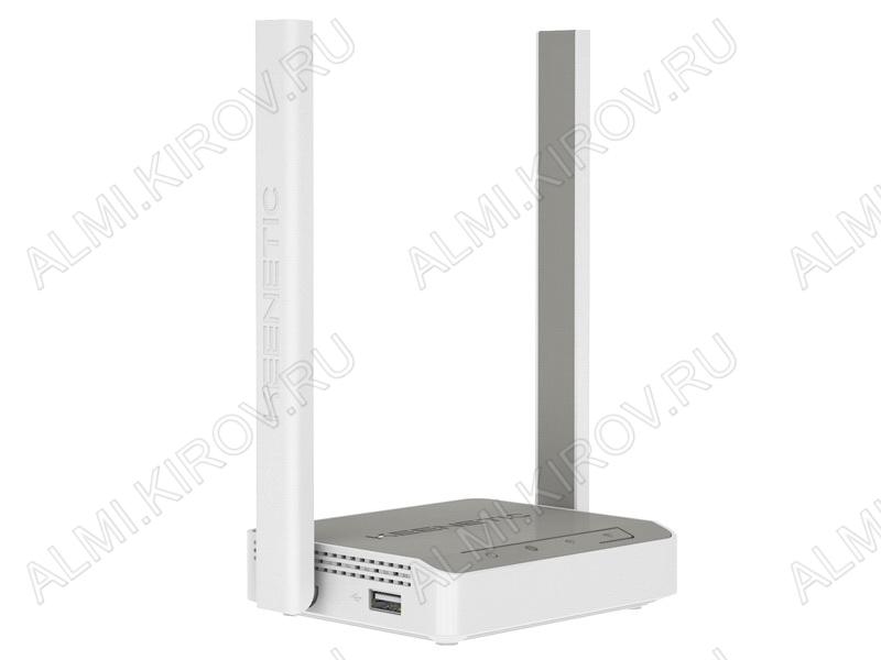 Wi-Fi Маршрутизатор Keenetic 4G (KN-1211) Порт USB 2.0, поддержка 3G/4G, 2 внешние антенны Wi-Fi (5дБ), 4 разъема RJ-45, точка доступа Wi-Fi, 300 Мбит/с, белый корпус