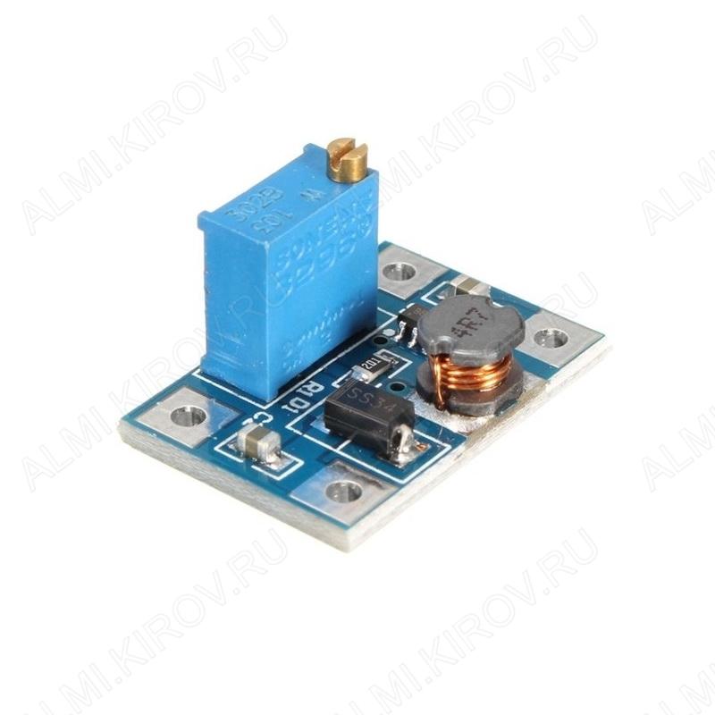 Радиоконструктор Преобразователь DC/DC в 1,25...35В(2А) из 4...40В (RP081) на SX1308 Повышающий. Частота преобразования 1,2 мГц ; 25 x 16 x 17 мм;