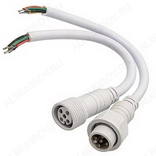 Разъем герметичный 5pin WP L=40 D=21.5mm 5*0.2mm2 IP68; белый, с кабелем