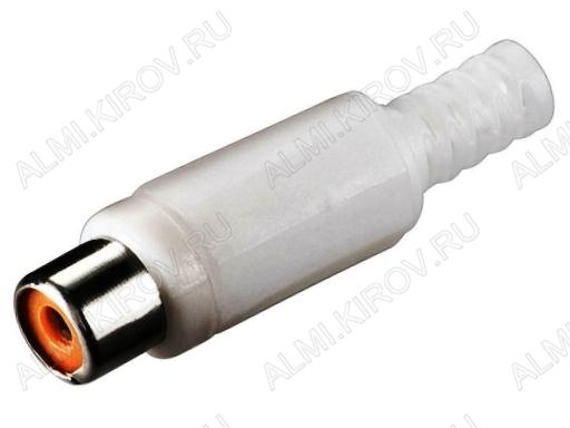 Разъем (118) RCA гнездо на кабель белый