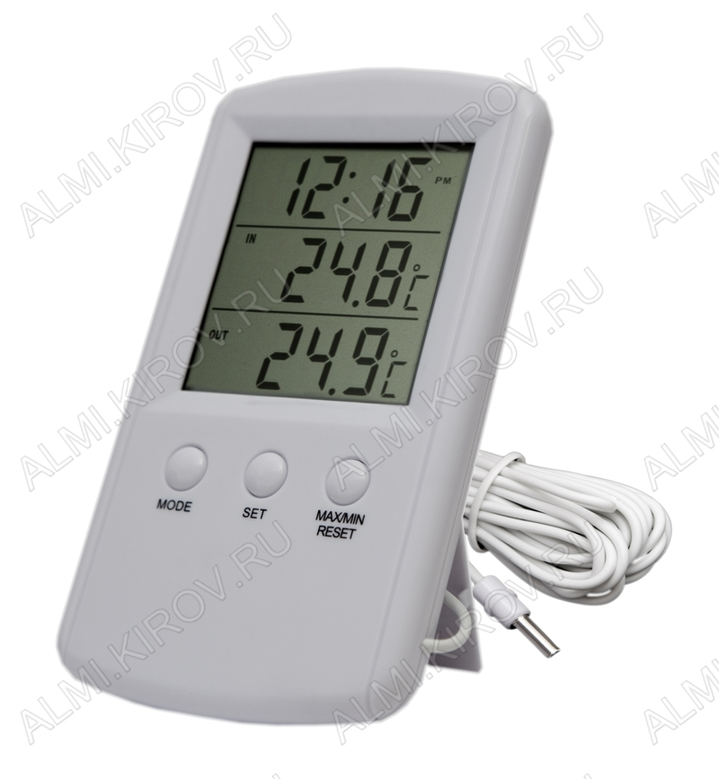 Термометр цифровой TM1010 Измерение наружной и внутренней температуры, часы/таймер; (гарантия 6 месяцев)