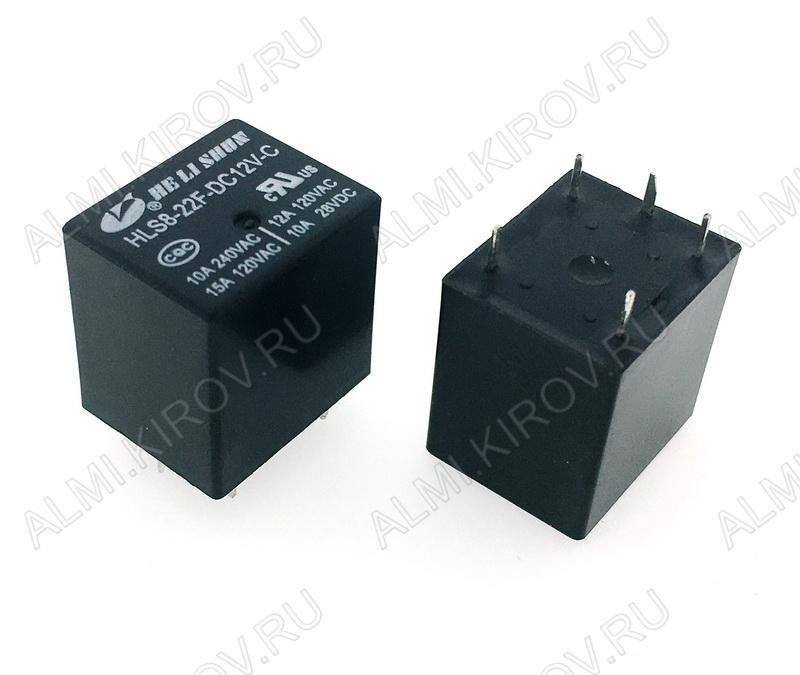 Реле HLS8-22F-DC12V   Тип 09 12VDC 1C(SPDT) 10A 20.2*16.5*20.2mm