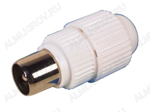 Разъем (346) антенный штекер на кабель пластик без пайки под обжим (