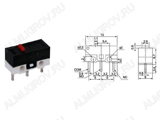 Переключатель RWA-101 (DM3-00P-110) 1A/125V; 3 pin