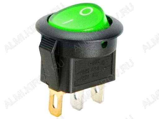 Сетевой выключатель RWB-214 зеленый круглый с подсветкой d=20.7mm; 6A/250V; 3 pin