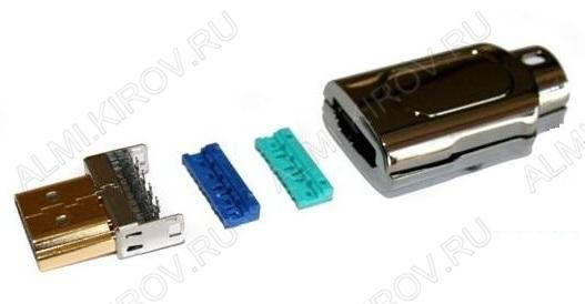 Разъем (613) HDMI штекер на кабель с кожухом метал. обжимной