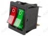 Сетевой выключатель RWB-510 (SC-797) красно-зеленый двойной с подсветкой 28,0*22,0mm; 16A/250V; 6 pin