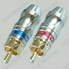 Разъем (1412) RCA штекер на кабель красный метал позолоч. (1-262G)