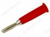 Разъем (0690) BANANA штекер на кабель красный пластик (1-624)
