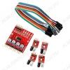 Датчик препятствий 4-канальный,  модуль с 4 подключенными инфракрасными датчиками препятствий