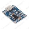 Модуль заряда АКБ TP4056 (micro USB) контролирующий уровень заряда литиевых АКБ Максимальный пропускной ток: 1А; Точность определения уровня заряда: 1.5%; Напряжение питания: 5В от USB;