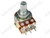 Потенциометр 50KB*2 исп.2 RV16A01F-20-15K-B50K-3C (R23) с центральной фиксацией Металлический, вал 15 мм с накаткой и шлицем, линейная зависимость