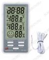 Термометр цифровой DC803 Измерение наружной и внутренней температуры, внутренней влажности; сигнализация по заданной температуре (гарантия 6 месяцев)