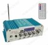 Радиоконструктор Усилитель 2х20Вт с медиаплеером USB/MP3/FM/MIC 6.35/Bluetooth HY803 Количество каналов 2*20Вт; Выход RMS; Вход 2*RCA; Питание 220В, 12В/5А -5.5мм гнездо; FM 87.5-108мГц; Размер 18*9,5*5.5см; пульт ДУ