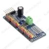 Модуль ШИМ контроллер PCA9685 16 каналов Напряжение питания: 2,3 - 5,5 В; Предельное потребление: 12 мА; Потребление в спящем режиме: 1 мА
