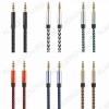 Шнур (TS-3261/OT-AVC16) 3.5 шт стерео/3.5 шт стерео 1.0м тонкий штекер, тканевая оплетка, цветной