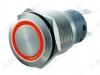 Кнопка антивандальная M19 ON-(ON) LED12V 1NO1NC 5c красная с подсветкой 12V (без фикс.) 250V; 5A; 5pin; D=19mm; IP67