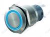 Кнопка антивандальная M19 ON-(ON) LED12V 1NO1NC 5c синяя с подсветкой 12V (без фикс.) 250V; 5A; 5pin; D=19mm; IP67