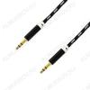 Шнур (OT-AVC28) 3.5 шт стерео/3.5 шт стерео 1.0м черный тонкий штекер, тканевая оплетка, в коробке
