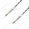 Шнур (OT-AVC28) 3.5 шт стерео/3.5 шт стерео 1.0м серый тонкий штекер, тканевая оплетка, в коробке