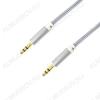 Шнур (OT-AVC29) 3.5 шт стерео/3.5 шт стерео 1.5м серый тонкий штекер, тканевая оплетка, в коробке