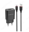 Сетевое зарядное устройство с выходом USB, 2.1А, черное, кабель Lightning, BA20A;