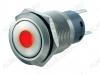 Кнопка антивандальная M19 ON-ON LED12V JHC3 1NO1NC 5c красная с подсветкой 12V (с фикс.) 250V; 5A; 5pin; D=19mm; IP67
