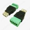 Разъем (3733) USB A-F гнездо с клеммной колодкой для кабеля UTP/FTP