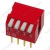Переключатель DP-04 угловой 25mA/24VDC; шаг 2.54мм