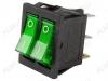 Сетевой выключатель RWB-510 (SC-797) зеленый двойной с подсветкой 28,0*22,0mm; 15A/250V; 6 pin