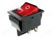Сетевой выключатель RWB-502 (SC-767) красный широкий с подсветкой 27,8*21,8mm; 15A/250V; 4 pin