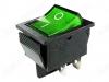 Сетевой выключатель RWB-502 (SC-767) зеленый широкий с подсветкой 27,8*21,8mm; 15A/250V; 4 pin