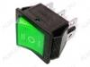 Сетевой выключатель RWB-509 (SC-767) зеленый широкий с нейтралью 27,8*21,8mm; 15A/250V; 6 pin