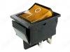 Сетевой выключатель RWB-502 (SC-767) желтый широкий с подсветкой 27,8*21,8mm; 15A/250V; 4 pin