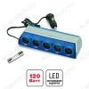 Разветвитель прикуривателя 5 в 1 (CS501) 12/24V, 10A, 120W, LED подсветка, шнур 1м, выключатель на каждый выход, артикул 43244